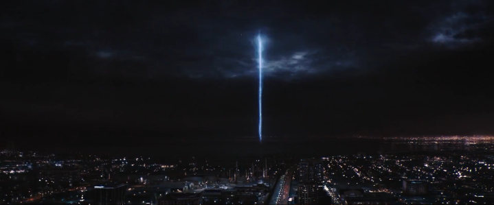 The explosion at Stark Industries Headquarters at the end of the Duel of Los Angeles.