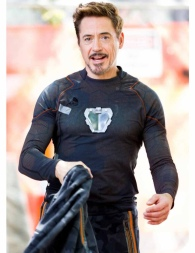 Behind the scenes shot of Robert Downey Jr. and the New Element Nano-Arc Reactor I prop.