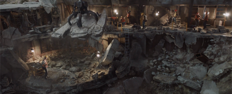 Debris being removed from the extension of the Hall of Armor