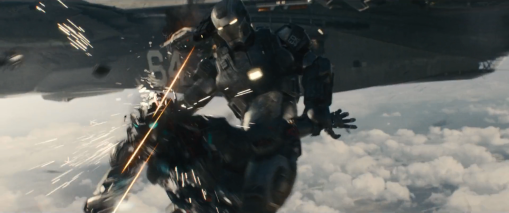 War Machine destroys an Ultron bot.